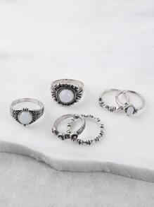 Faux Stone Multi Ring Set WHITE