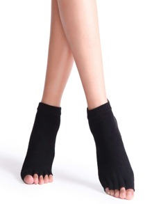 Black Socks Yoga metà Toe