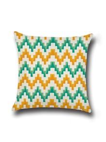 Funda de cojín de lino minimalismo con estampado chevron