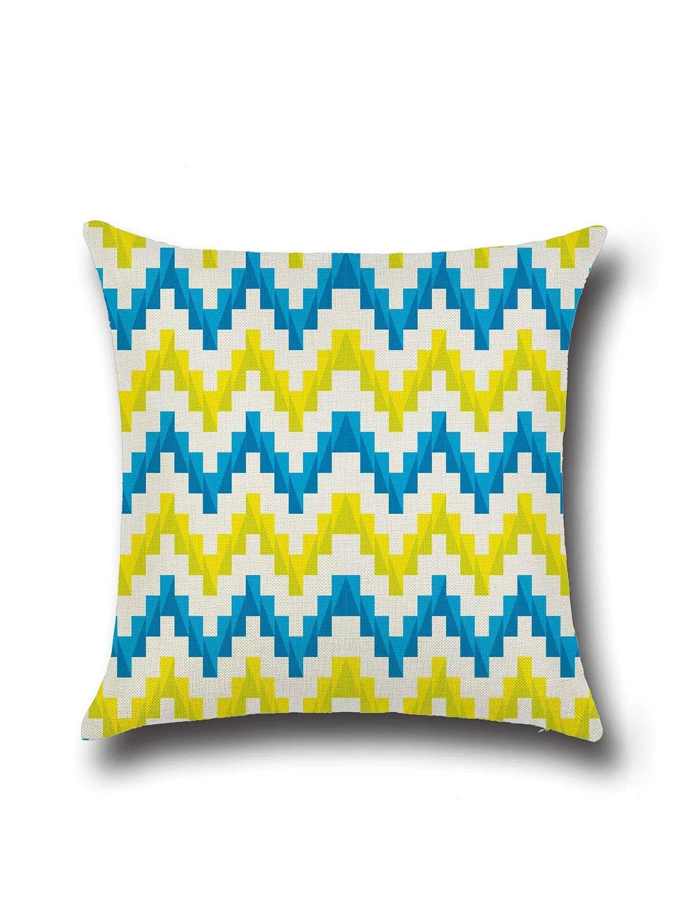 Фото Chevron Pattern Minimalist Linen Cushion Cover. Купить с доставкой