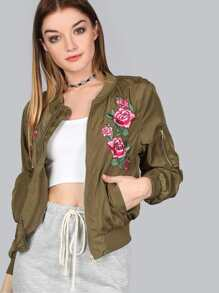 Floral Embroidered Bomber Jacket OLIVE