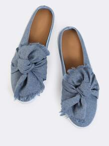 Denim Distressed Bow Slip Ons BLUE DENIM