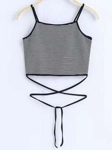 Black And White Striped Tie Detail Cami Top