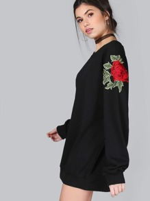 Embroidered Roses Longline Sweater BLACK