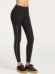 Eyelet Lace Insert Wide Waistband Leggings