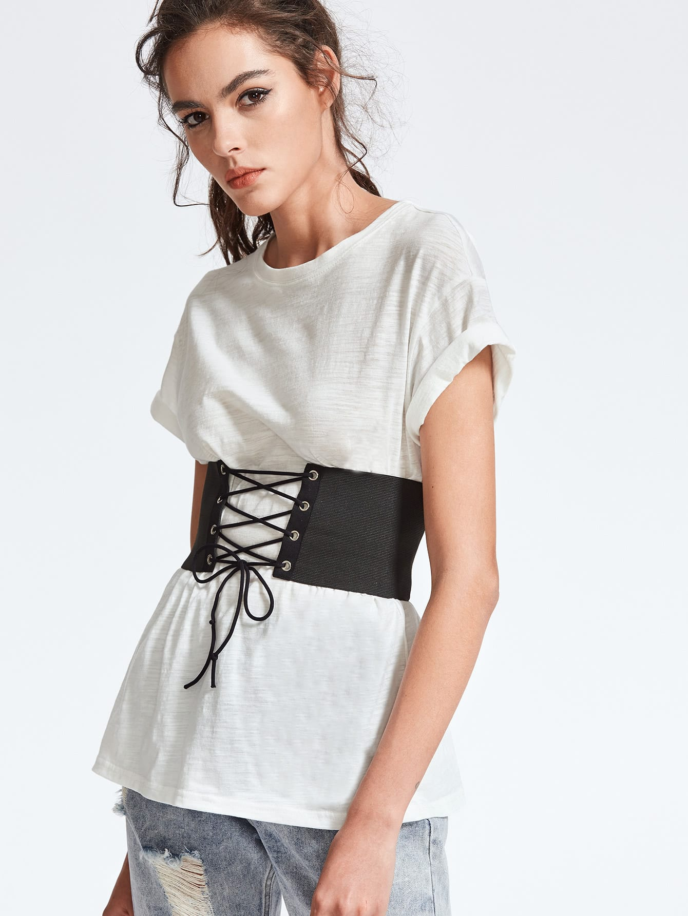 Drop Shoulder Slub T-shirt With Lace Up Wide Belt drop shoulder marled sweatshirt dress with corset belt