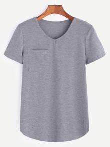 Heather Grey V Neck Curved Hem Pocket T-shirt