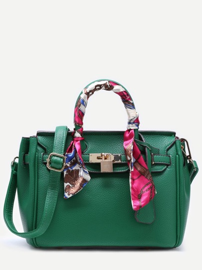 Green Pu Satchel Bag With Adjustable Strap