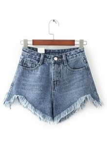 Shorts bajo desflecado en denim - azul