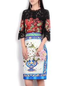 Black Flowers Lace Top With Print Skirt