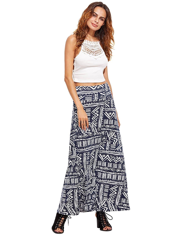 black meander pattern print high waist maxi skirt shein