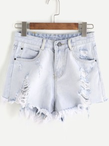 Shorts lacéré bleu clair en denim
