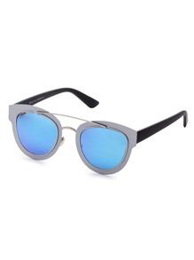 Color Block Frame Double Bridge Sunglasses