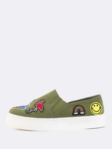 Patched Up Slip On Sneakers OLIVE