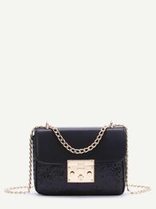 Black Sequin Detail PU Chain Bag