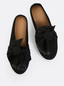 Backless Frayed Bow Tie Slip Ons BLACK