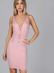 Lace Up V-Neck Bodycon Dress MAUVE