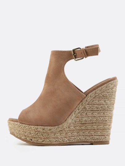 Vegan Suede Wedges TAUPE