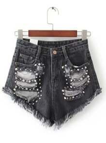 nero strappato rivet dettaglio pantaloncini di jeans
