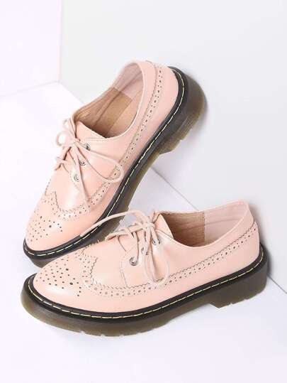 Pink Lace Up PU Flat Shoes