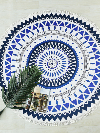 Geometric Print Fringe Trim Round Beach Blanket