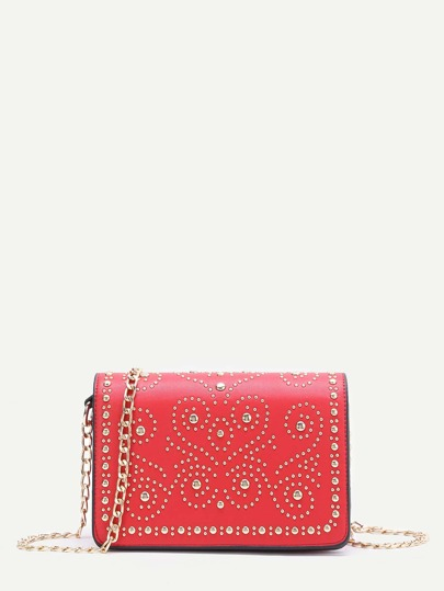 Red Studded PU Chain Bag