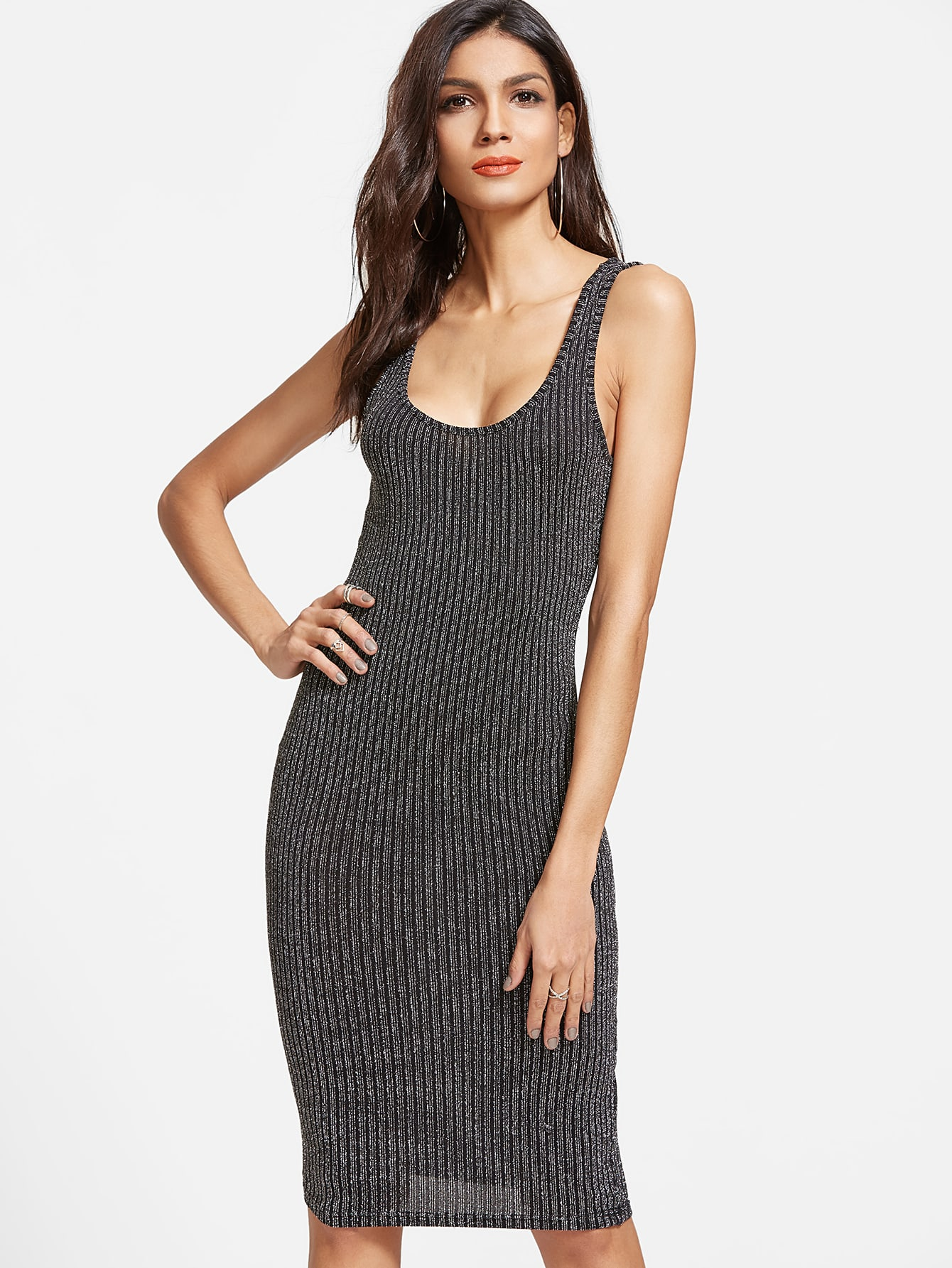 Black Ribbed Knit Bodycon Tank Dress dress170220701