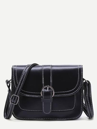Black Buckle Detail PU Shoulder Bag