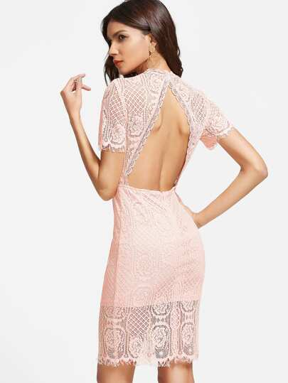 Pink Open Back Lace Overlay Sheath Dress