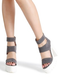 Grey Strappy Platform Heeled Sandals