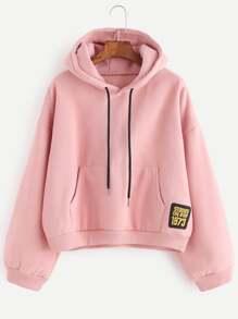 Pink Drop Shoulder Embroidered Patch Drawstring Hooded Sweatshirt