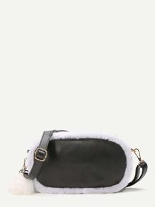 Black Faux Fur Trim Pom Pom Charm Bag