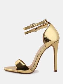 Metallic Open Toe High Heels GOLD
