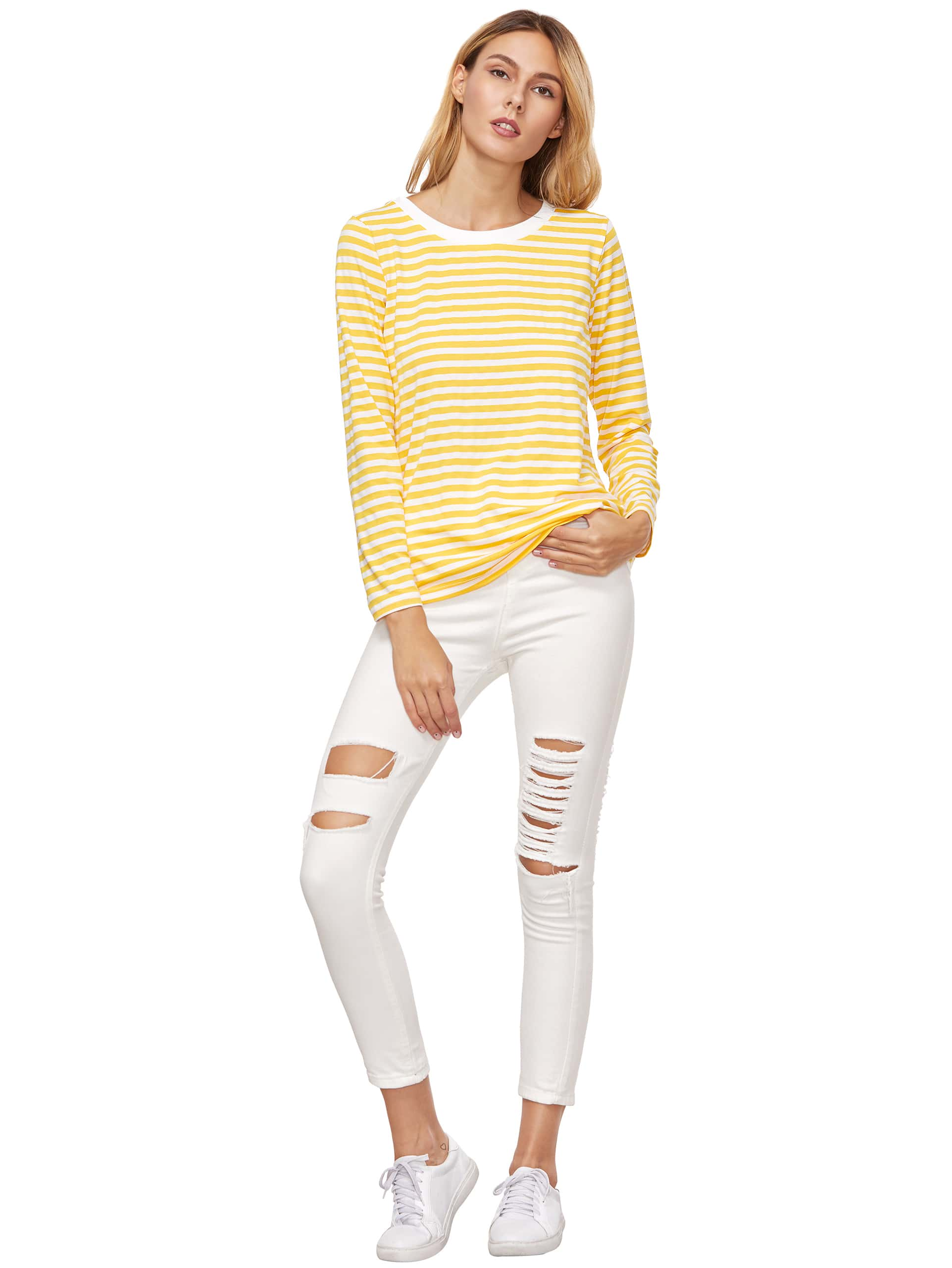 Yellow Striped Long Sleeve T Shirt Shein Sheinside