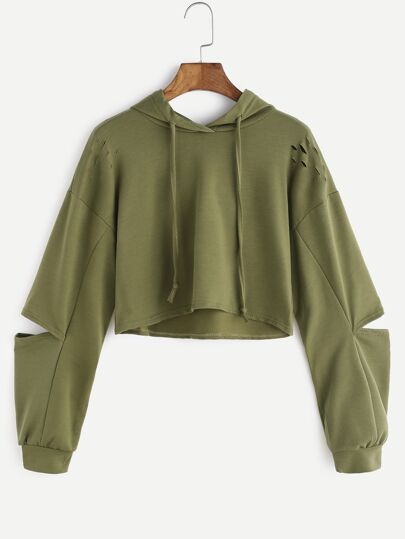 Army Green Hooded Ripped Crop Sweatshirt