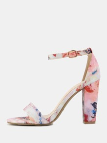 Floral Open Toe Chunky Heels BLUSH