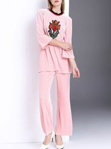 Pink Flower Embroidered Velvet Top With Pants