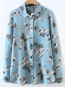 Blue Cranes Print Blouse With Buttons