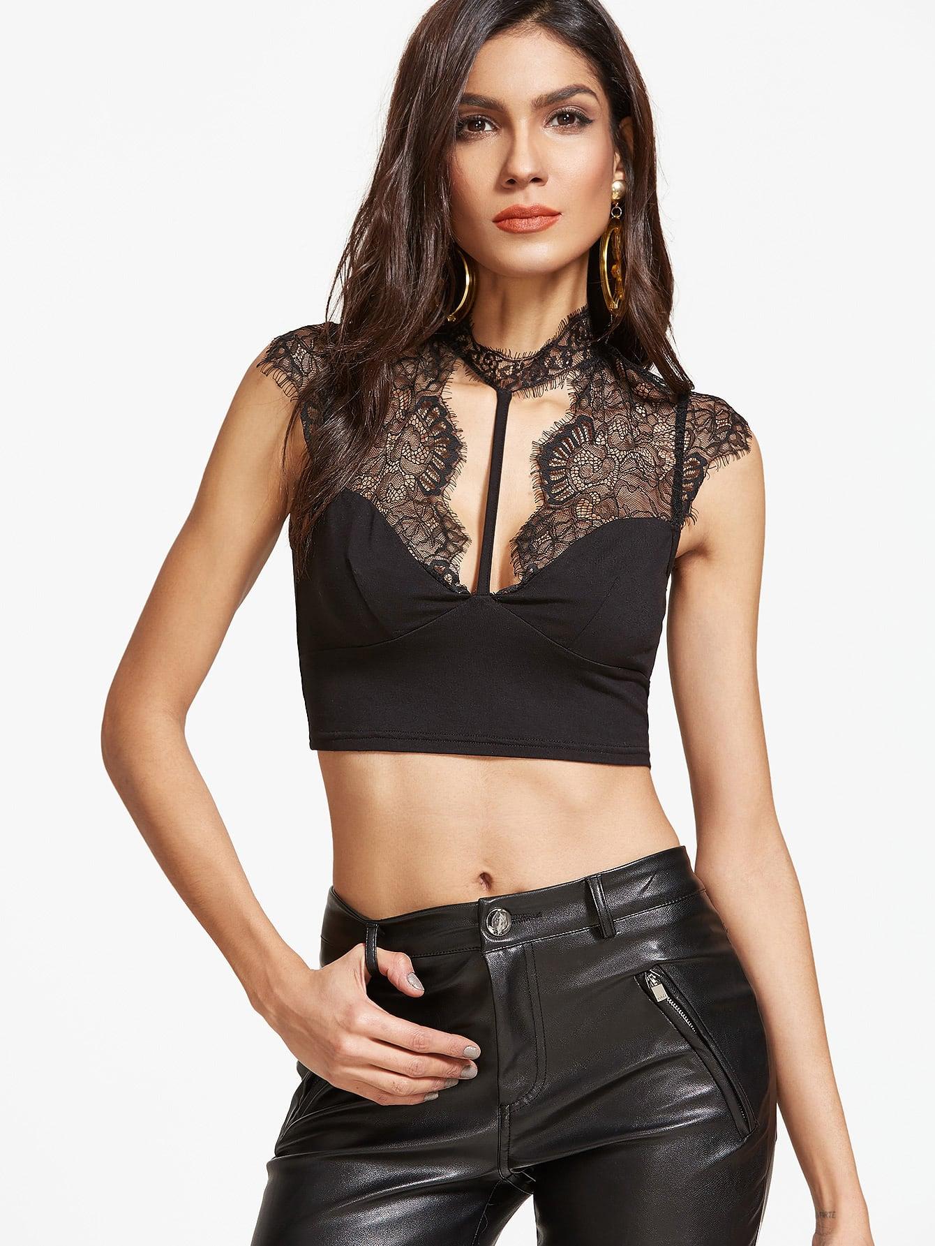 Фото Lace Shoulder Open Back Strappy Crop Top. Купить с доставкой