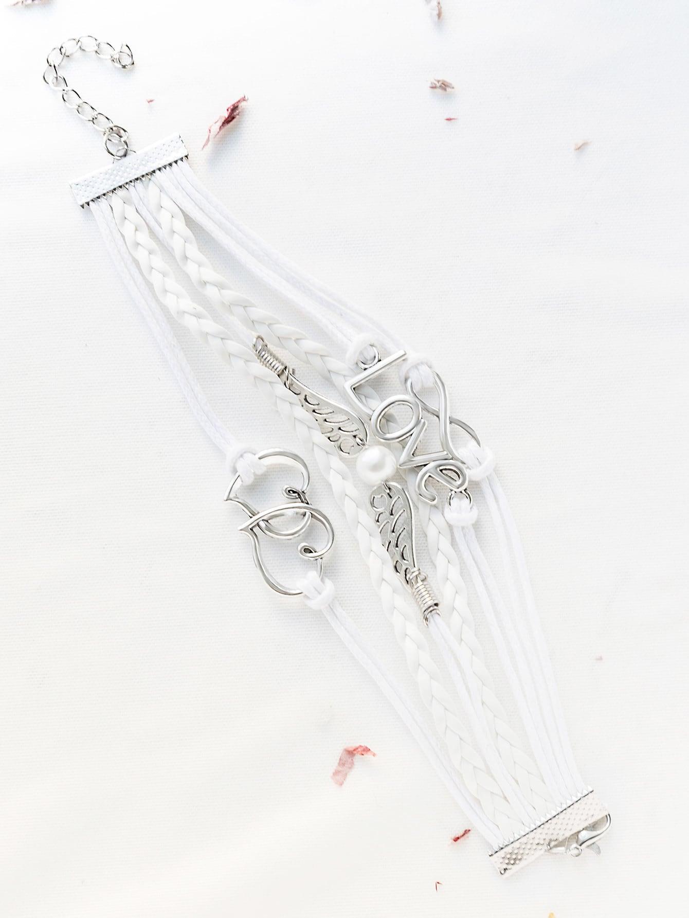 Фото White Love Embellished Strappy Bracelet. Купить с доставкой