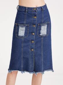 Dark Blue Single Breasted Ripped Raw Hem Skirt