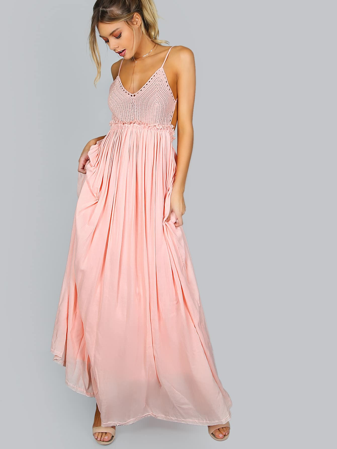 Backless maxi crochet dress pink shein sheinside for Crochet wedding dresses for sale