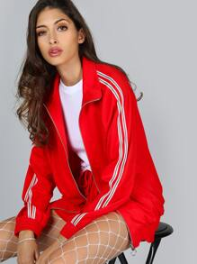 Striped Track Jacket RED