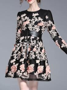 Black Flowes Applique Tie-Waist Mesh Dress