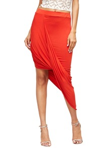 Red Slim Bodycon Asymmetrical Skirt