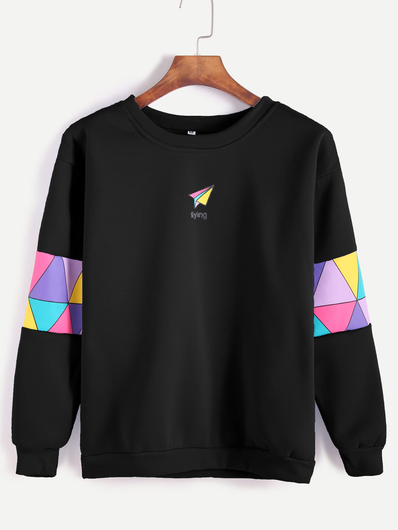 Black Paper Airplane Print Patchwork Trim Sweatshirt