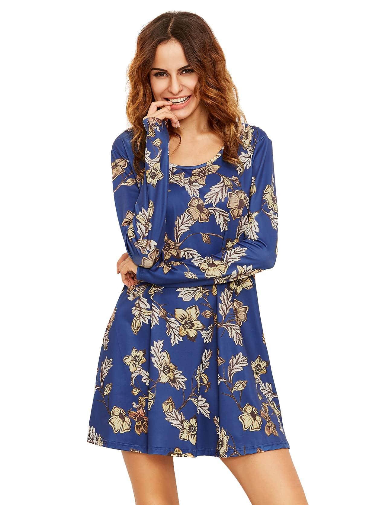 Фото Crew Neck Floral Shift Dress. Купить с доставкой