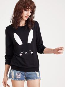 Stampa di coniglio con cappuccio - nero
