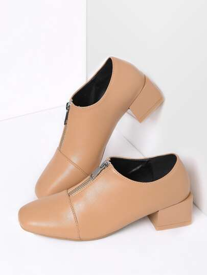 Apricot Zipper Detail Square Toe PU Heels