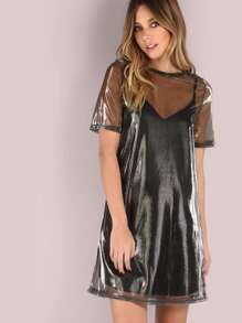 Iridescent 2 in 1 Cami Shirt Dress